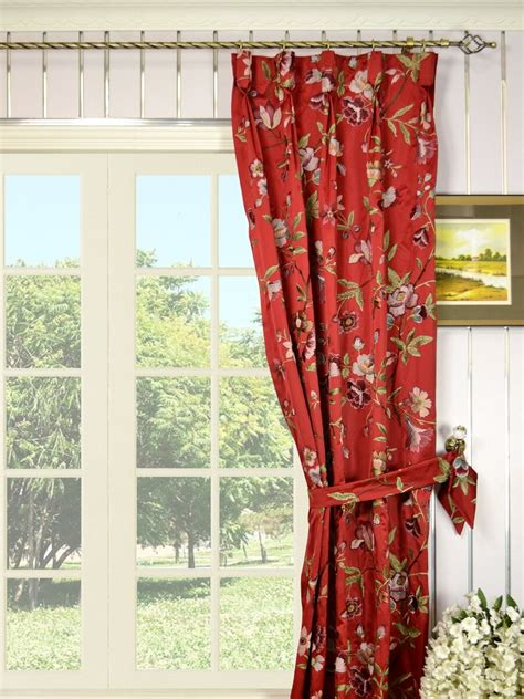 silver and red curtains silver beach embroidered cheerful goblet faux silk curtains