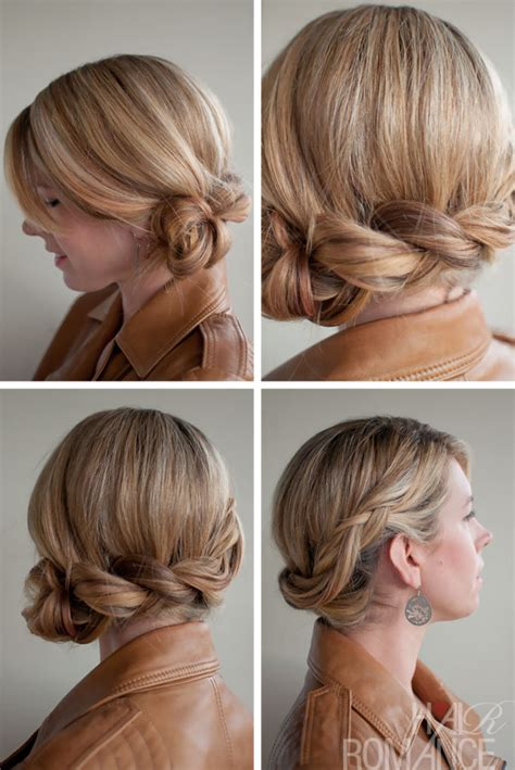 twisted side bun updo hairstyles tutorial popular haircuts twist side braid romantic side braided updo for wedding