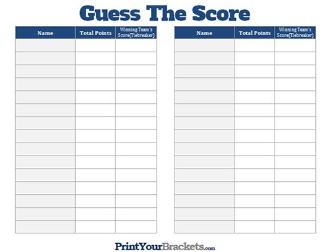 bowls score cards template printable guess the score bowl