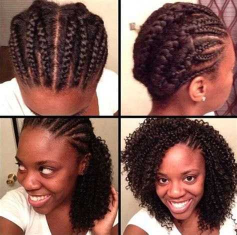 cornrows on side sew in in back crotchet braids tutorial side cornrows left exposed