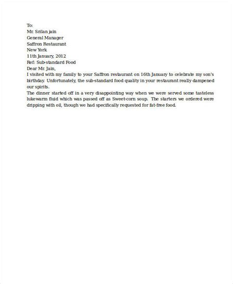 Complaint Letter Bad Quality Food complaint letter sles 28 free word pdf documents free premium templates