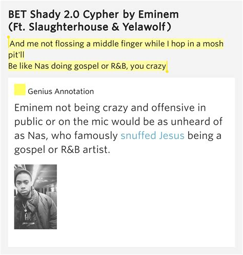 eminem cypher lyrics and me not flossing a middle finger while bet shady 2