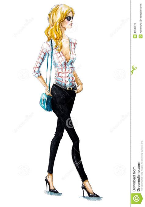 A Fashionable by Fashion A Walking Summer Look Watercolor