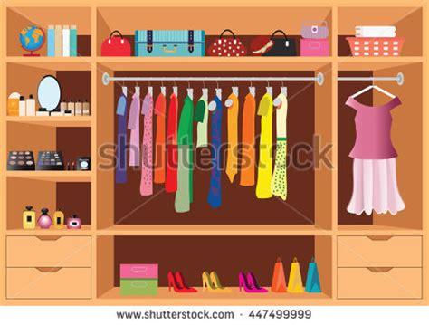kleiderschrank clipart flat design walk closet shelves accessories stock vector