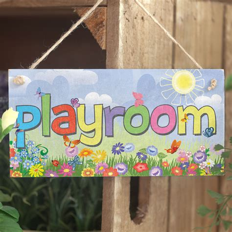 Handmade Door Signs - playroom sign handmade shabby chic wooden door