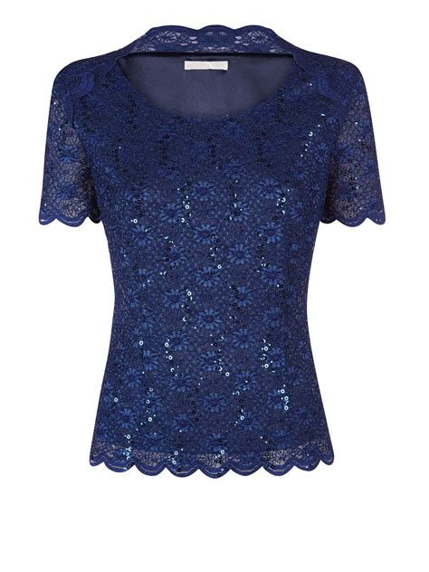 Top Navy lyst jacques vert navy sequin lace top in blue