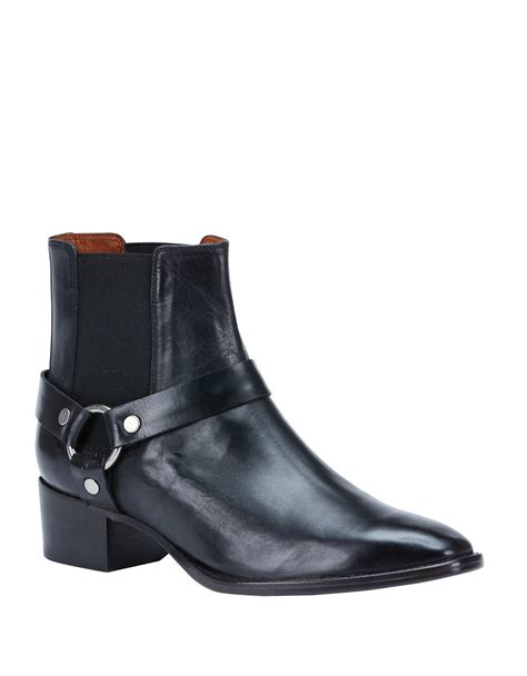 frye dara leather harness ankle boots in black lyst