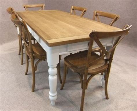 oak and pine country farmhouse kitchen table with a set of