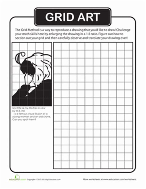 printable art activities for high school students famous art mystery grid drawing search results