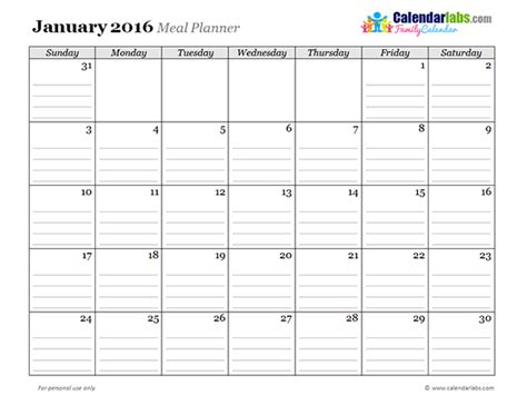 2016 printable monthly planner templates calendar