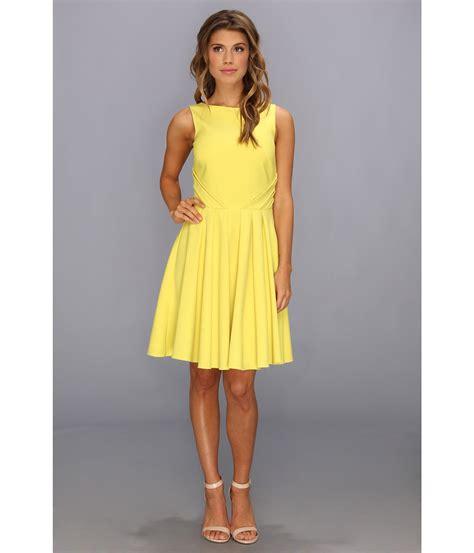 02 Dress Tali Ribbon Yelow lyst badgley mischka fit and flare cocktail dress open
