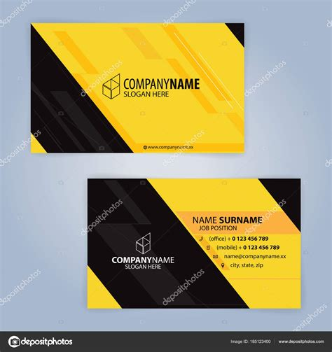 black business card template vector yellow black modern business card template illustration
