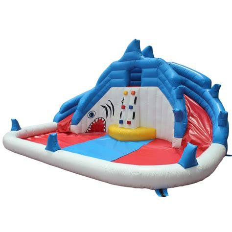 water slides for backyard pools yard backyard shark inflatable water slide swimming pool water gogo papa