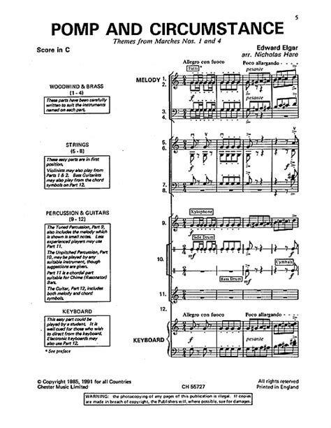 pomp circumstance and sheet music class of 2014 edward elgar pomp and circumstance themes from marches