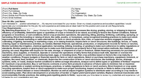 Farm Manager Cover Letter Farm Manager Title Docs