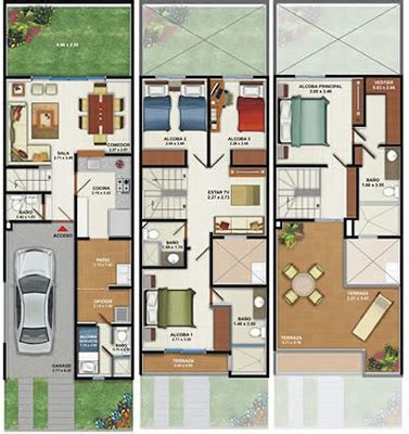 Modern Townhouse Designs And Floor Plans plano de casa de 160m2 3 pisos 4 dormitorios planos de