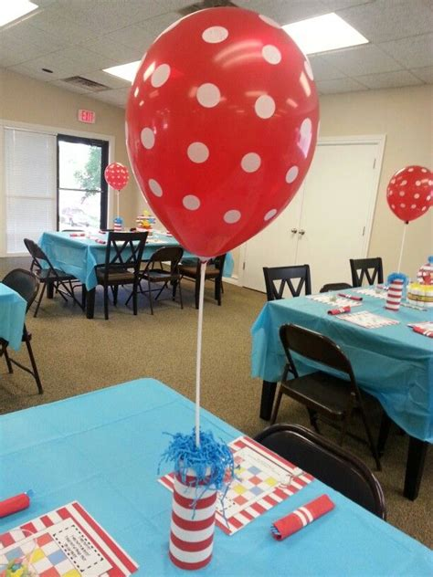 Dr Seuss Centerpieces Pringles Cans Wrapped With Balloons On Sticks Centerpiece