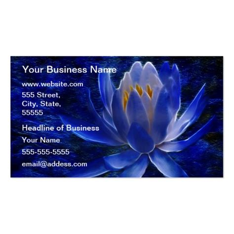 lotus flower business cards template blue lotus flower business card templates zazzle