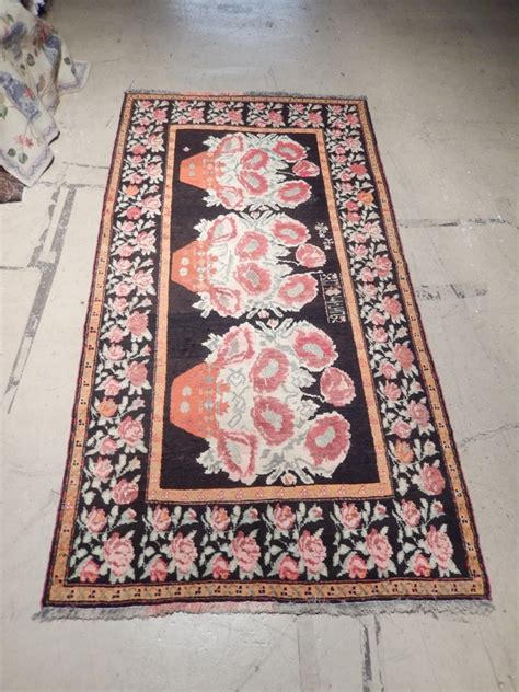 rug 4 x 8 black floral vase woven 4 x 8 caucasian rugs semi antique wool runner ebay