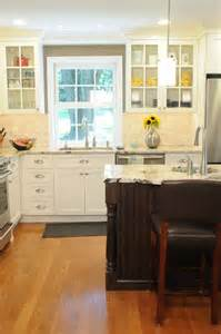 Antique White Kitchen Ideas by Stylish Antique White Kitchen Cabinets With Black Island