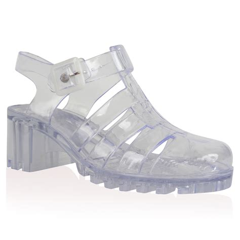 clear jelly sandals womens clear summer low heeled retro jelly