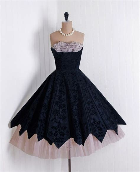 Who Wore It Better Couture Chiffon Ruffle Dress by 1950 S Vintage Black Floral Flocked Taffeta And Chagne