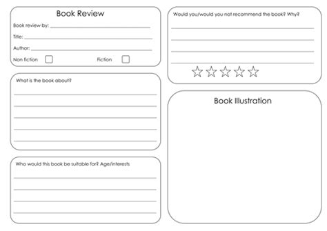 one page book report template book review template by uk teaching resources tes