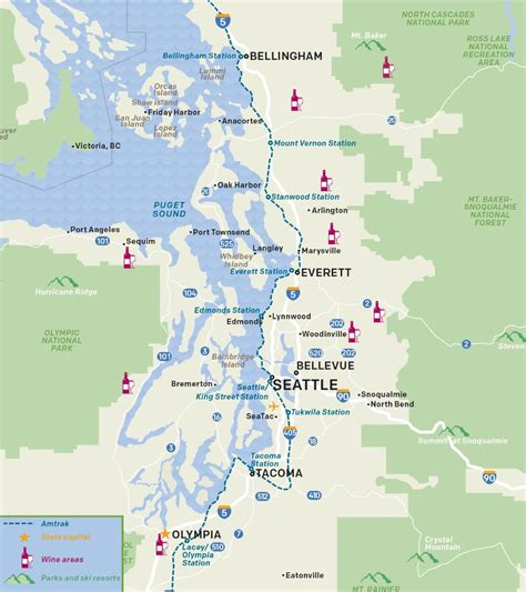 seattle map of usa seattle wine areas map