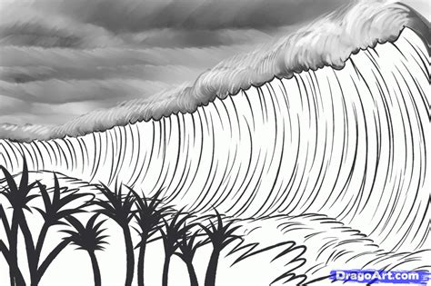 simple sketches sketches and waves on how to draw a tsunami tsunami tsunamis step by step