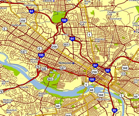 richmond va map city map of richmond