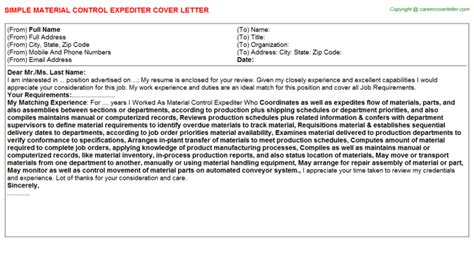 Material Specialist Cover Letter by Material Specialist Cover Letters