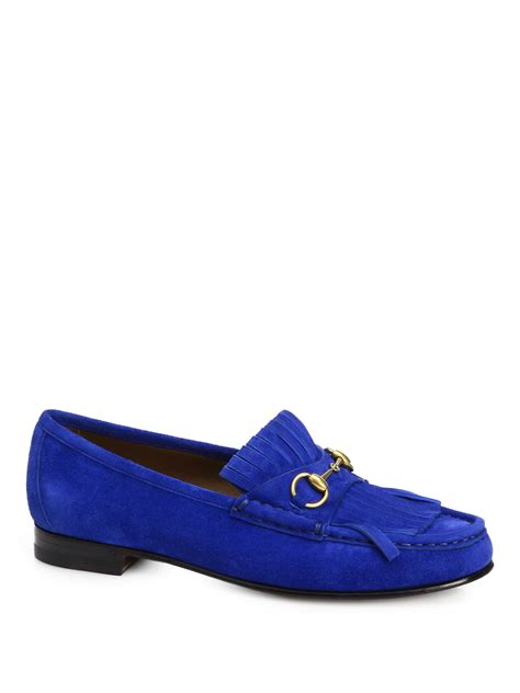 gucci blue suede loafers lyst gucci suede tassel front loafers in blue