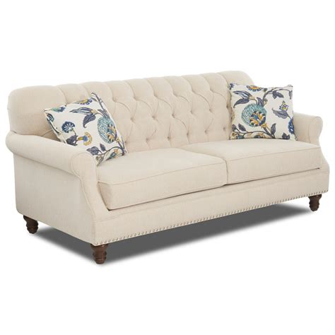 tufted apartment sofa traditional tufted apartment size sofa with nailheads by
