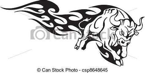 monochrome drawing bull tribal patterns on stock vector clipart vector of bull in tribal style vector image