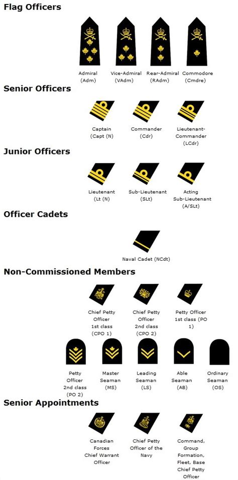 canadian military rank structure for the air force navy and army canadian military rank structure for the air force navy