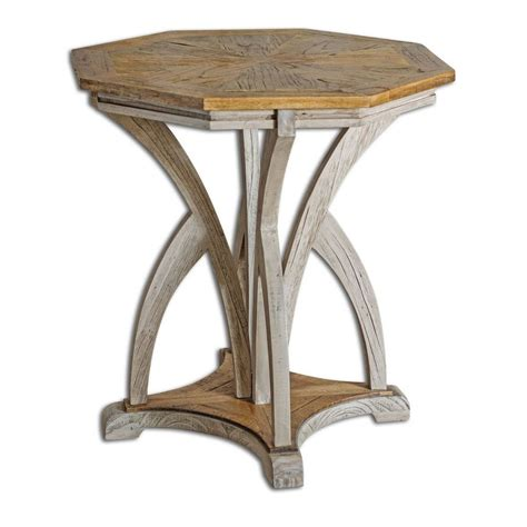 White Accent Table Ranen Aged White Accent Table 25623