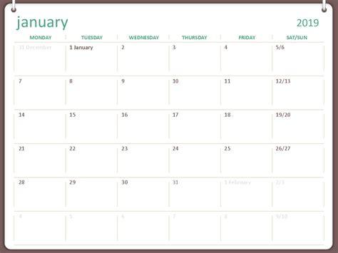calendar mon sun  ring design