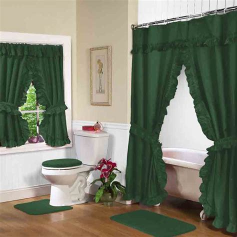 green bathroom window curtains hunter green double swag shower curtain