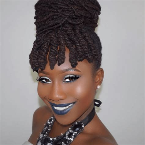 images of black braided bunstyle with bangs in back hairstyle curly bangs bun on natural hair locs
