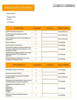 printable version of starter checklist fillable online ngolearning new starter checklist