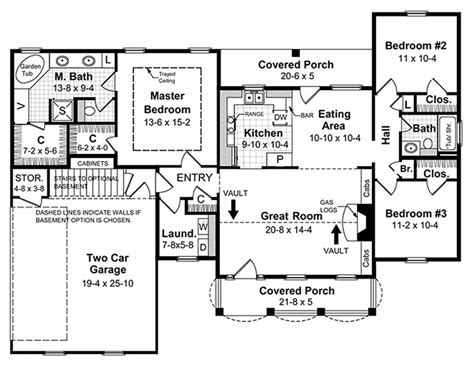 1500 Sq Ft House Floor Plans Southern Style House Plan 3 Beds 2 Baths 1500 Sq Ft Plan 21 146
