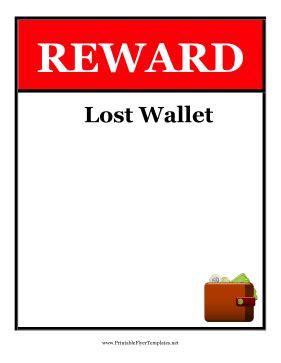 Reward Lost Wallet Flyer Lost Reward Poster Template