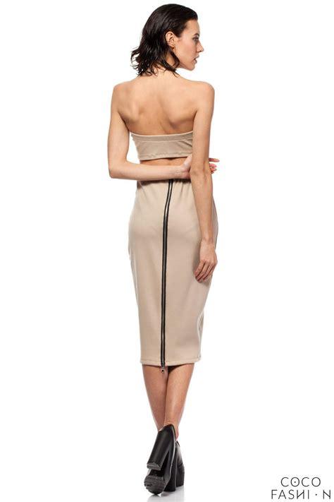 beige midi pencil skirt with decorative back zipper fastening