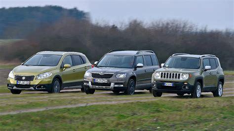 jeep skoda jeep renegade vs skoda yeti y suzuki sx4 s cross