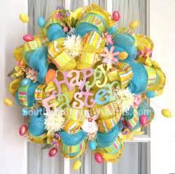 Teardrop Vases Deco Mesh Wreath Happy Easter W Eggs