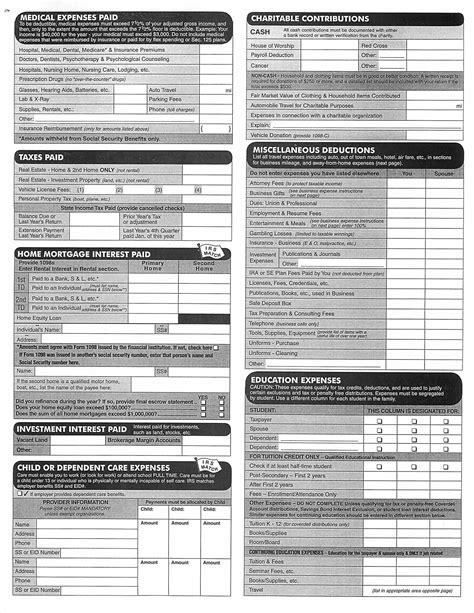 printable tax organizer 2014 income tax organizer worksheet tax organizer tax