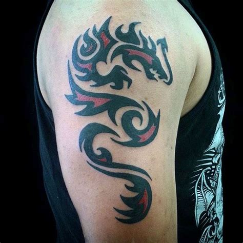 upper arm male tribal dragon tattoo tatoos dragao