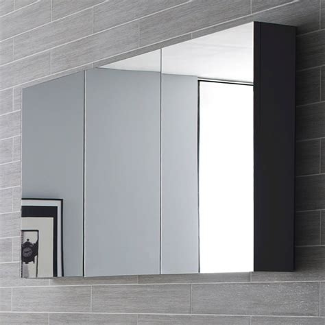 Bathroom Cabinet Mirrored Hudson Reed Quartet Designer Large Mirrored Bathroom Cabinet Gloss Grey Lq055