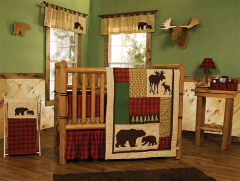 Outdoor Themed Crib Bedding Northwoods Baby Bedding Crib Set 6 Pc Outdoor Cabin Country Moose Rustic Ebay
