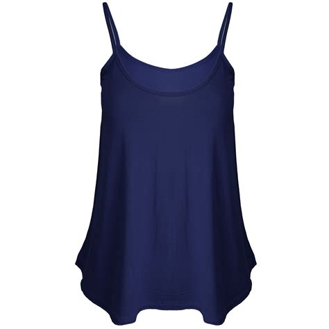 Womens Ladies Cami Sleeveless Swing Vest Strappy Plain